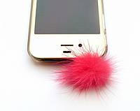 """Заглушка для аудио порта  3,5 мм (мех) """"ПУШОК"""". Цвет: ярко-розовый."""