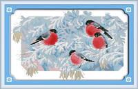 Снегири Набор для вышивки крестом с печатью на ткани 14ст