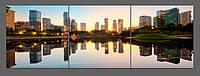 Модульная картина на стекле Город 120*40 см