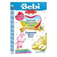 Детская молочная каша Bebi Premium из пшеницы с яблоком и бананом