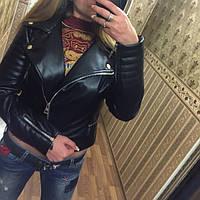 """Женская модная куртка из кожзама (эко-кожа) """"Молния"""""""