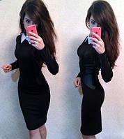 Женское платье с воротничком и вставками кожзама
