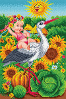 """БИС-9414 Рисунок на ткани для вышивки """"С рождением! (девочки)"""""""