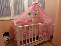 """Постельный набор в детскую кроватку """"Мишульки и лестница""""  розовое 9эл."""