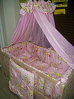 """Постельный набор в  детскую кроватку """"Мишульки и часики"""" розовый 9 эл."""