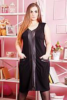 Сарафан со вставками из эко-кожи КОЖА черный, фото 1