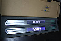 Mercedes Vito 638 Беспроводные пороги с подсветкой (2 шт, нерж)