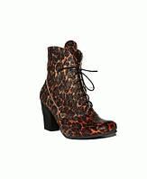 Демисезонные ботинки из натуральной кожи черно-коричневой змеи