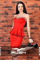 Платье с баской и камнями