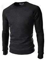 Модные мужские свитшоты.Свитшот 1488.-серый-рукав-черный.-размер-М