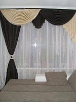 Комплект штор в зал из велюровой ткани модель №105