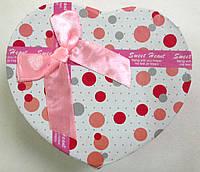 Подарочная коробка для часов сердце Розовая с белым