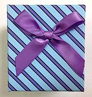 Подарочная коробка для часов Голубая в полоску с бантом