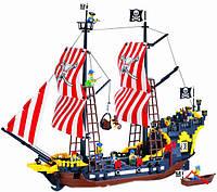 Конструктор детский brick 308, морские приключения на легендарном пиратском корабле, 870 деталей, пластик