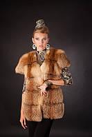 Меховая жилетка жилет из лисы на крючках, расшита кожей Fox (leather inset) fur vest fur waist coat