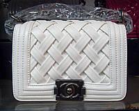 Женская сумка клатч Chanel Boy (Шанель Бой) 9802 белая