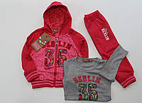 Спортивный костюм- тройка для девочек 1,3,5 лет Малиновый,темно-синий Польша