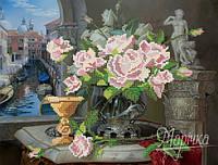 Схема для вышивки бисером    Натюрморт с розами РКП-082