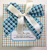 Подарочная коробка для часов Белая в клетку с бантом