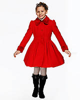 Детское пальто для девочки №577 красный