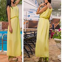 Шифоновое платье в пол , в греческом стиле, цвет желтый