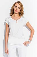 Блуза женская летняя цвета экри с украшением на плечах. Модель R85 Sunwear коллекция весна-лето 2015