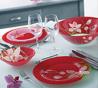 Столовая посуда Luminarc Red Orchis 19 предметов на 6 персон