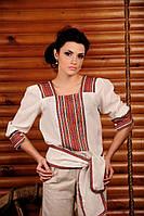 Вышиванка женская с коротким рукавом. Жіноча блуза Модель:ЖБ-44-95 льон
