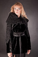 Шуба из мутона и каракуля с капюшоном  Afghan karakul curly lamb and mouton fur coat with a hood