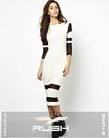 Облегающее платье со вставками из сетки