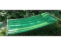 Гамак большой, с перекладинами из дерева и длинной подушкой, для всей семьи, выдерживает до 200кг, 220*160см