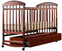 Детская кроватка Наталка (темное дерево, темная) с ящиком