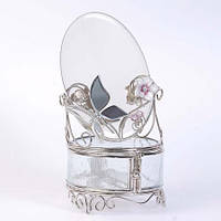 """Шкатулка стеклянная с зеркалом """"Колокольчики и зеркальная бабочка"""" Charme De Femme"""