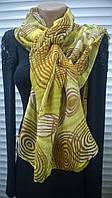 модный шарф  палантин   из хлопка  с рисунком  зеленых  оттенков
