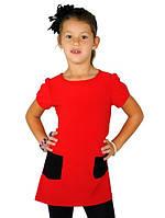 Детское платье красного цвета с черными накладными карманами