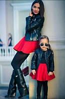 Комплект одинаковых юбок для мамы и дочки красного цвета