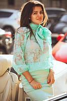 Блузка из органзы с большим бантом на вороте (в двух цветах) 01231