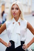 Блузка из шелка с большим бантом на вороте 01224