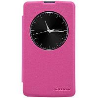 Кожаный чехол книжка Nillkin Sparkle для LG L Fino Dual D295 розовый