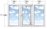 Окно ПВХ из 3-х частей, 2100х1400, REHAU-60