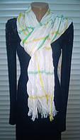 шарф палантин  из хлопка  цвет - белый  с полосками легкая жатка