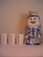 Подарочный набор Милиционер расписной штоф для водки 500 мл и стакан гранёный 3 шт фарфор