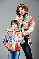 Куртка женская с плащевки с цветочным принтом