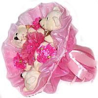 Букет из мягких игрушек Мишки 3 с заколками ярко розовый