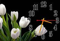 """Часы-картина """"Белые тюльпаны"""" 30х45 см красивый подарок"""
