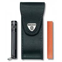 Victorinox Викторинокс чехол для ножа на пояс 111 мм из черной кожи на липучке с отделением для фонарика