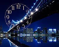 """Часы настенные """"i 10"""",  ночной мост 30х40 для кухни, гостиной, детской, спальни. Подарок"""