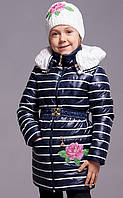 Детская  демисезонная  куртка для девочки  +шапочка Роза
