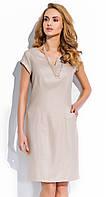 Летнее льняное платье-футляр бежевого цвета с коротким рукавом, модель RS24 Sunwear.