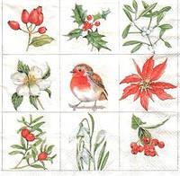 Салфетка с птицей и цветами 4070